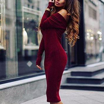 Sexy Off Shoulder Knitting Cotton Long Sleeve Women Winter Sweater Dress Maxi Bodycon Bandage Party Dresses Ladies Club Vestidos