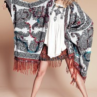 Free People Hendrix Yarn Fringe Poncho