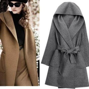Double Cashmere Long Sleeves Hooded Coat