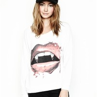 Lauren Moshi Brenna Vamp Lip Long Sleeve Pullover in White | Boutique To You