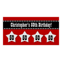 50th Birthday Red Black White Stars Banner V50S Poster