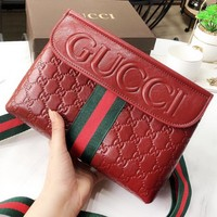 GUCCI New fashion more letter leather shoulder bag women Red