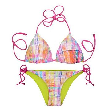 Thaikila Creole Print Reversible Triangle Top and Side Tie Brazilian Bottom Bikini Swimwear Swimsuit Set