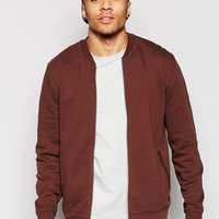 ASOS | ASOS Jersey Bomber Jacket In Chestnut at ASOS