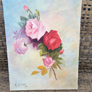 Vintage Oil Painting floral Roses Rose Original Art American artwork oil painting signed by artist