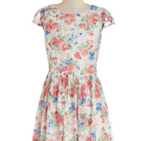ModCloth Mid-length Cap Sleeves A-line Trellis the Truth Dress