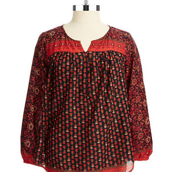 Lucky Brand Plus Plus Patterned Peasant Top