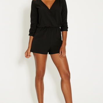 chiffon romper with lace