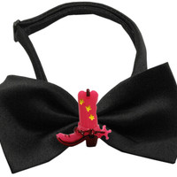 Pink Cowboy Boots Chipper Black Bow Tie