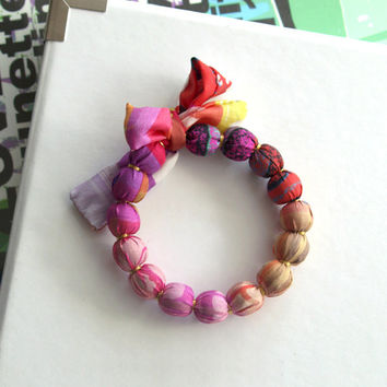 Handmade silk fabric bracelet, designed fabric, multicolored beaded jewelry
