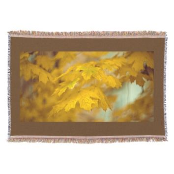 Yellow autumn maple leaves. throw