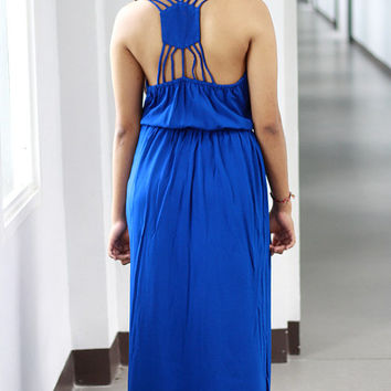 Royal Blue Maxi Dress / Bridesmaid Dress / Open Back Maxi Dress / Summer Long Dress in Royal Blue