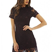 Plum High Neck Short Sleeve Lace Mini Dress