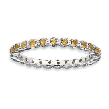Sterling Silver Stackable Expressions Citrine Eternity Ring