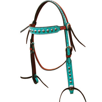 Bar H Equine Turquoise Gator Series Browband Headstall