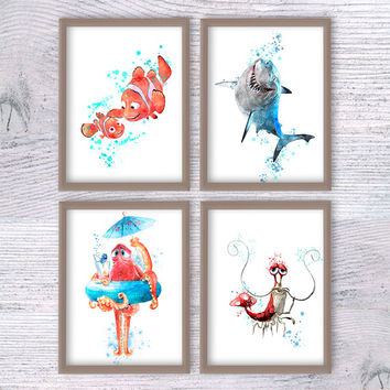 Finding Dory, Set of 4, Hank, Baby Nemo, Bruce, Jacques, Finding Nemo print, Wall art, Nursery room, Baby shower, Disney poster, V105