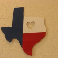 Texas Heart Red White and Blue Metal Wall Art