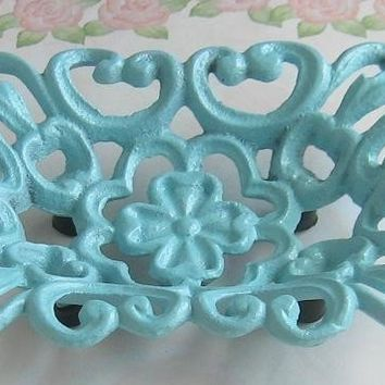 Shabby Chic Light Blue Cast  Iron Metal  Soap Dish / Business Card Holder