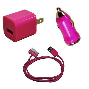 KHOMO: PINK Color USB Travel Kit with Car Charger, Wall Charger and USB SYNC Cable Adapter for Apple iPod & iPhone (ANY MODEL)