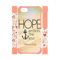 Vintage Retro Anchor Apple Iphone 5S/5 Case Cover Dual Protective Polymer Cases Hope Ahchors The Soul Hebrews 6:19 Quotes Water