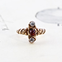 Victorian Moonstone & Garnet Ring, Antique 10k Rose Gold Promise, Trilogy Line Motif, Rustic Alternative Engagement Ring, Anniversary Gift