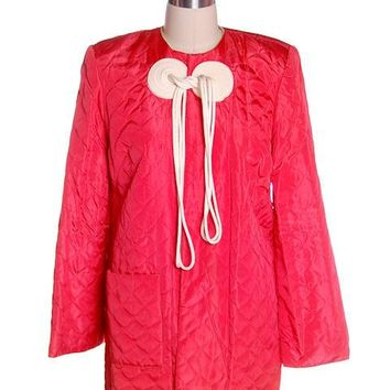 Vintage Coral Quilted Taffeta Short  Robe Jacket Fab Frogs 1940's 44 Bust