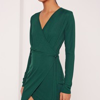 Missguided - Wrap Front Rib Shift Dress Green