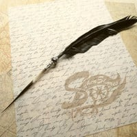 SUPER Sale. Quill Pen Raven's Wing Ink Dip Porcupine Quill Feather Pen and Hematite STEAMPUNK