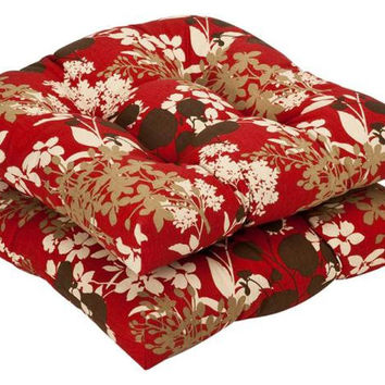 2 Chair Cushions - Red, Khaki, Brown And Cream Floral