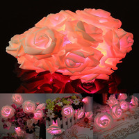 30 LED Pink Rose Flower Fairy Wedding Party Christmas Valentine's day Decor String Light Garden Decoration