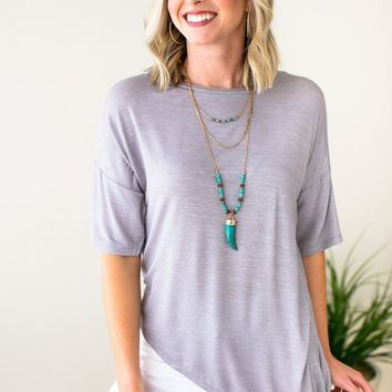 Don't Live Without Asymmetric Knot Top - Grey