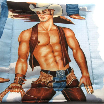 Handmade Quilted Pot holders Hot Cowboys Set of 2