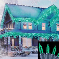 Green Icicle Christmas Lights - 100 Bulbs On Green Wire