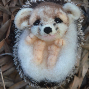 Needle felted Hedgehog with made with 'hedgehog fabric' - realistic spines