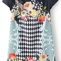 Dark Navy Floral Print Chiffon Dress