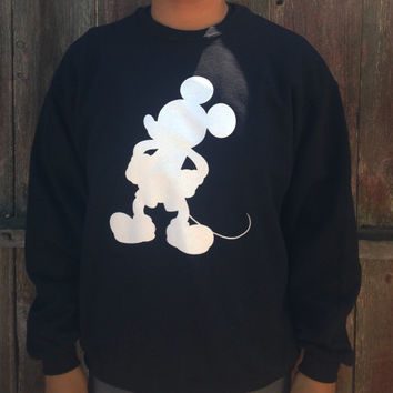 Mickey mouse black crew neck sweater