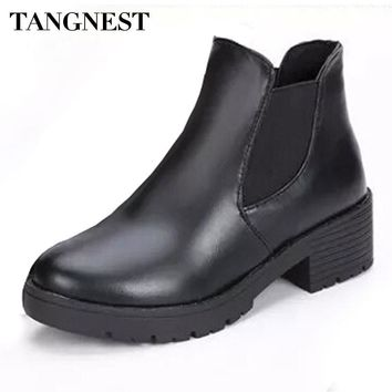 Tangnest Women Boots 2017 Autumn Fashion Chelsea Boots For Women Slip-on Platform Shoe