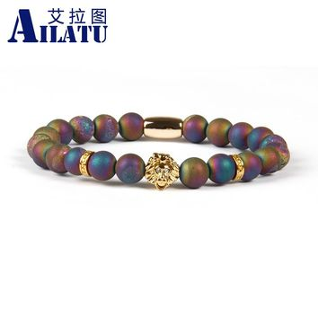 Ailatu Trendy Fashion Jewelry 8mm Scrubs Openings Laugh Stone with PVD Plated Lion Head Bracelet 4 Color Avaiable