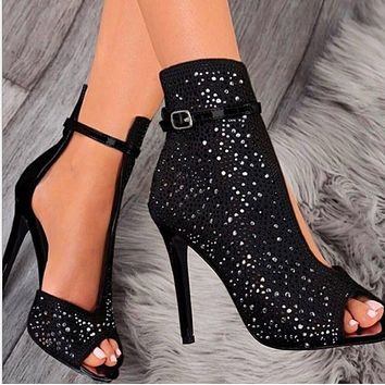 Hot style fish mouth water drill stilettos shoes
