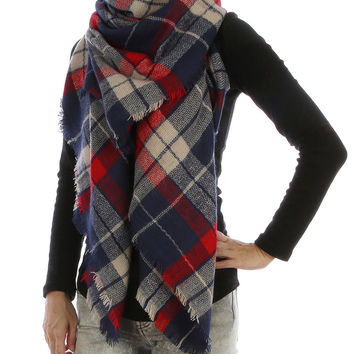 Navy & Red Multi Plaid Checkered Scarf.   Soft Yarn Blanket Scarf. Frayed Edges