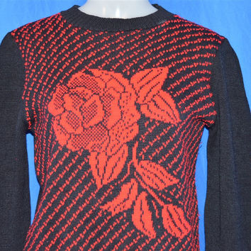 90s Black Red Rose Print Ugly Sweater Women's Small