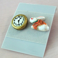 Alice in Wonderland Stud Earrings (Rabbit & Clock) - Handpainted Polymer Clay - Halloween, Costume, Cosplay -  Women, Girl, Teen - Kitsch