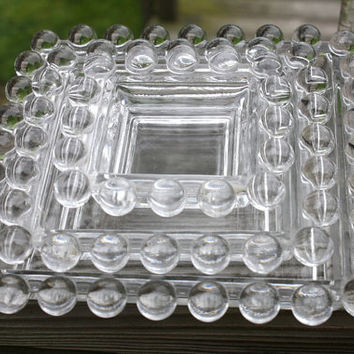 Imperial Glass CANDLEWICK  3 Piece Square Ashtray Set.  Nesting Ashtray Set.  Pattern no 3400