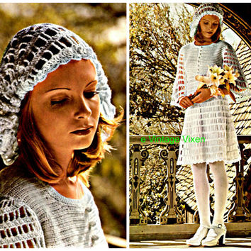 70s Crochet/Knit Vintage Pattern - Mod Wedding Dress and Head-dress - eco fashion, hippie, bohemian wedding dress - Direct from France