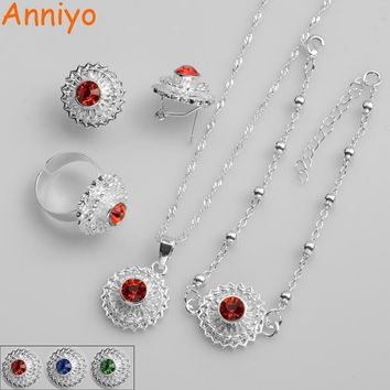 Anniyo Red/Blue/Green Stone Ethiopian SMALL Set Necklace/Earrings/Ring/Bracelet Women/Girl Silver Color Eritrean Gift #066406B