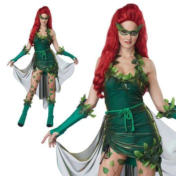 Poison Ivy Cosplay Adult Girl Dress Pamela Lillian Isley Cos Costume Green Elf Female Halloween Clothing Party Sexy Clothes