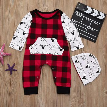Newborn Baby Boys Girls Plaid Deer Print Jumpsuit Hat Outfits 2Pcs Set new born baby clothes