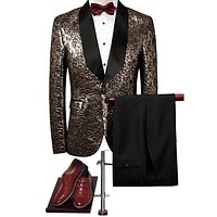 Black Lapel Gold Tuxedo Suit Men Fashion Clothing Slim Fit Men Party Prom Suits for Wedding Groom