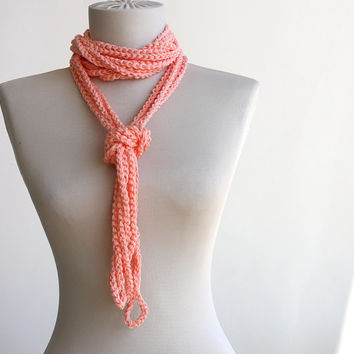 Summer Scarf Peach Infinity scarf Versatile crochet necklace crochet loop spring summer fashion vegan