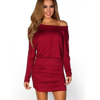 Round-neck Batwing Sleeve One Piece Dress [6339074753]